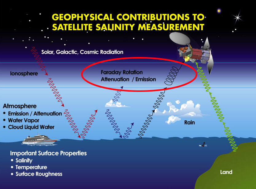 Geophysical contributions to satellite salinity measurement