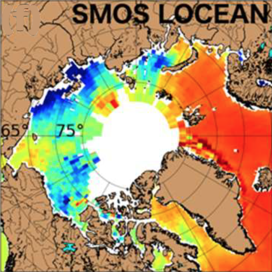 Annual mean of SSS over 2015-2017 from SMOS Laboratory of Oceanography and Climatology