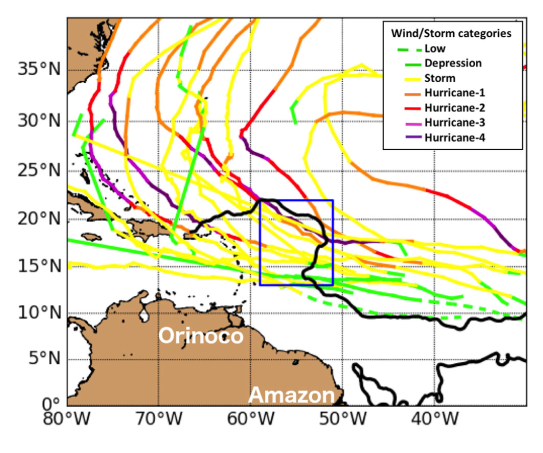 Five years of summertime storm tracks for North Atlantic tropical cyclones within a 2 month period between 15 July and 15 September in the years 2010–2014