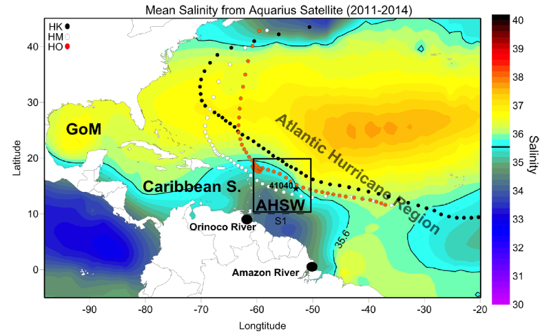 Salinity distribution over the river plume area formed by the Amazon and Orinoco River outflows