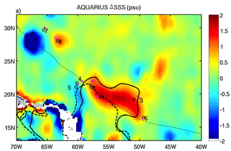 Aquarius SSS difference between after (5–10 SEP/2011) minus before (25AUG–1SEP/2011) the passage of Katia