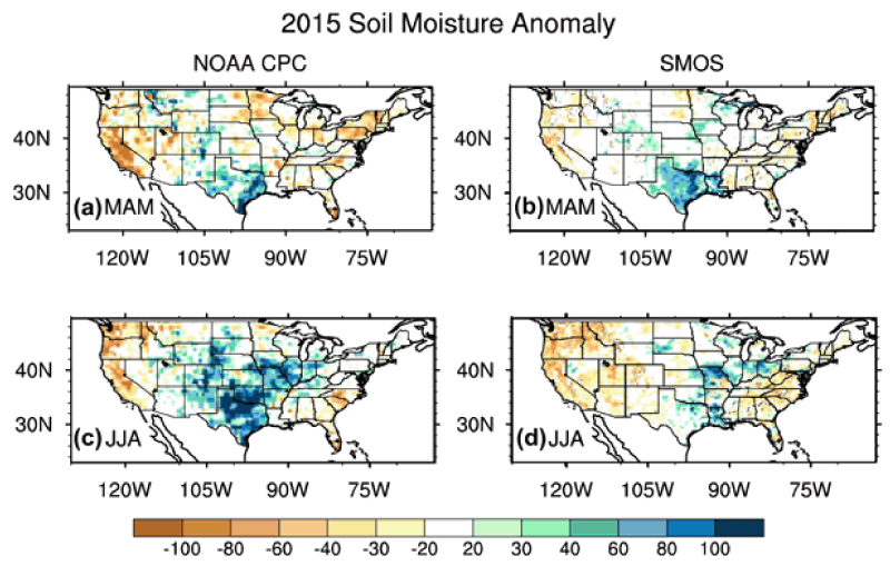 Soil moisture content anomalies in the 2015 spring (a, b) and summer (c, d)