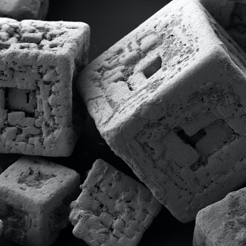 Magnified salt crystals