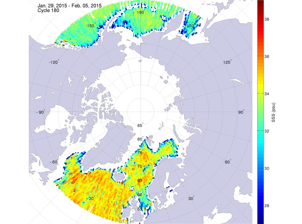 Sea surface salinity, January 29 - February 5, 2015