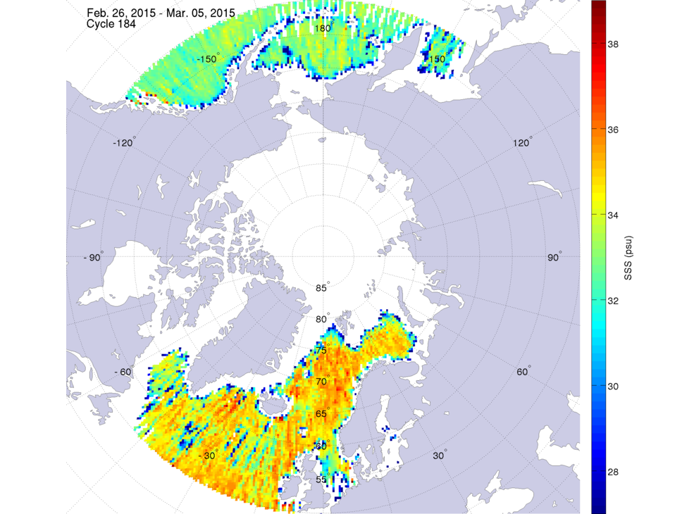 Sea surface salinity, February 26 - March 5, 2015