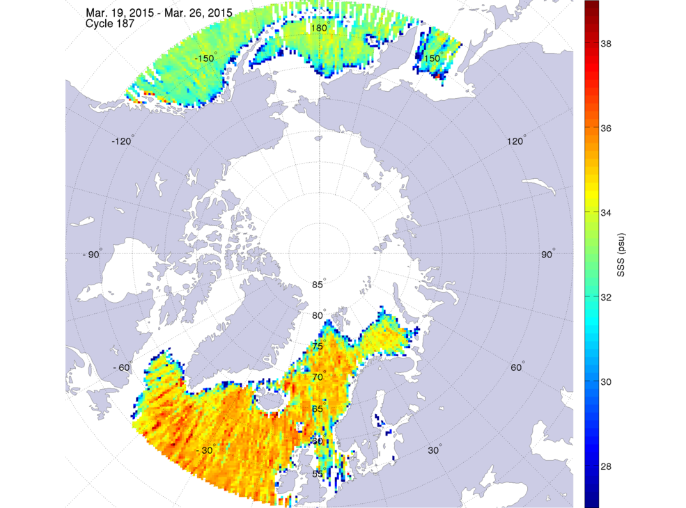 Sea surface salinity, March 19-26, 2015