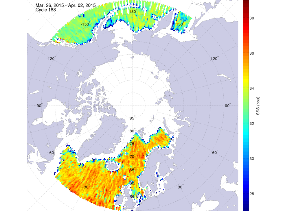 Sea surface salinity, March 26 - April 2, 2015