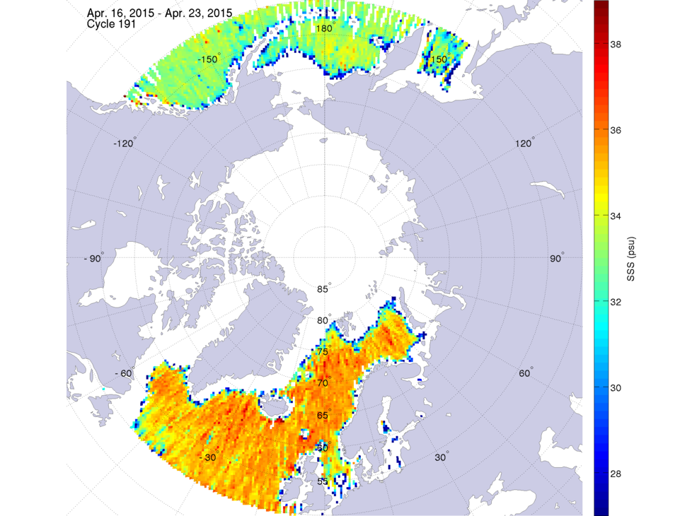 Sea surface salinity, April 16-23, 2015