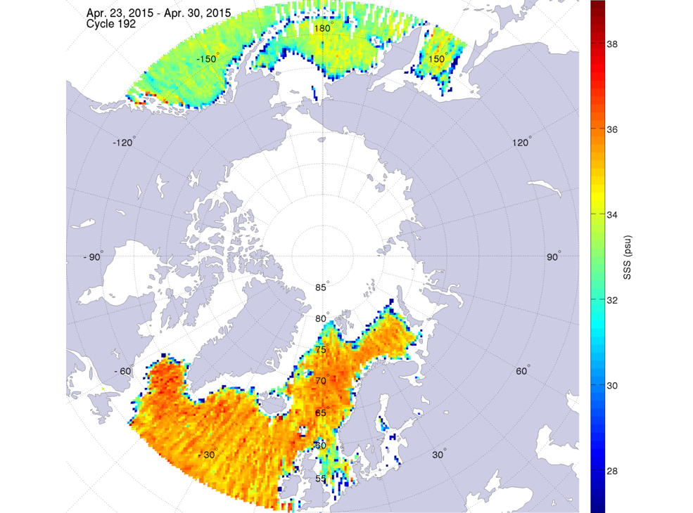 Sea surface salinity, April 23-30, 2015