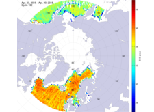 Sea surface salinity in the northern hemisphere