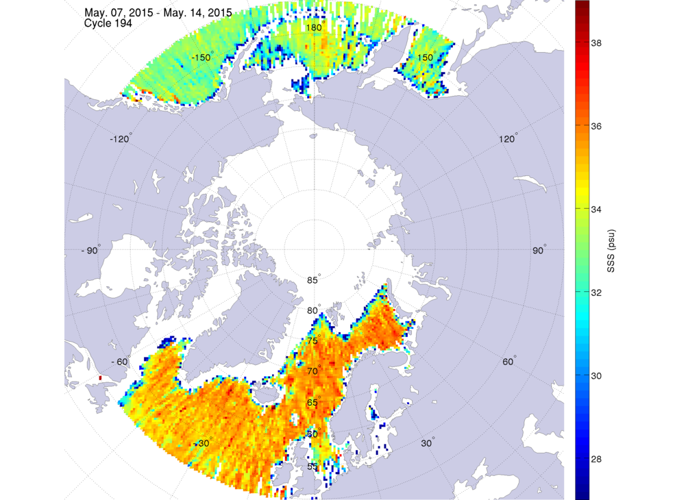 Sea surface salinity, May 7-14, 2015