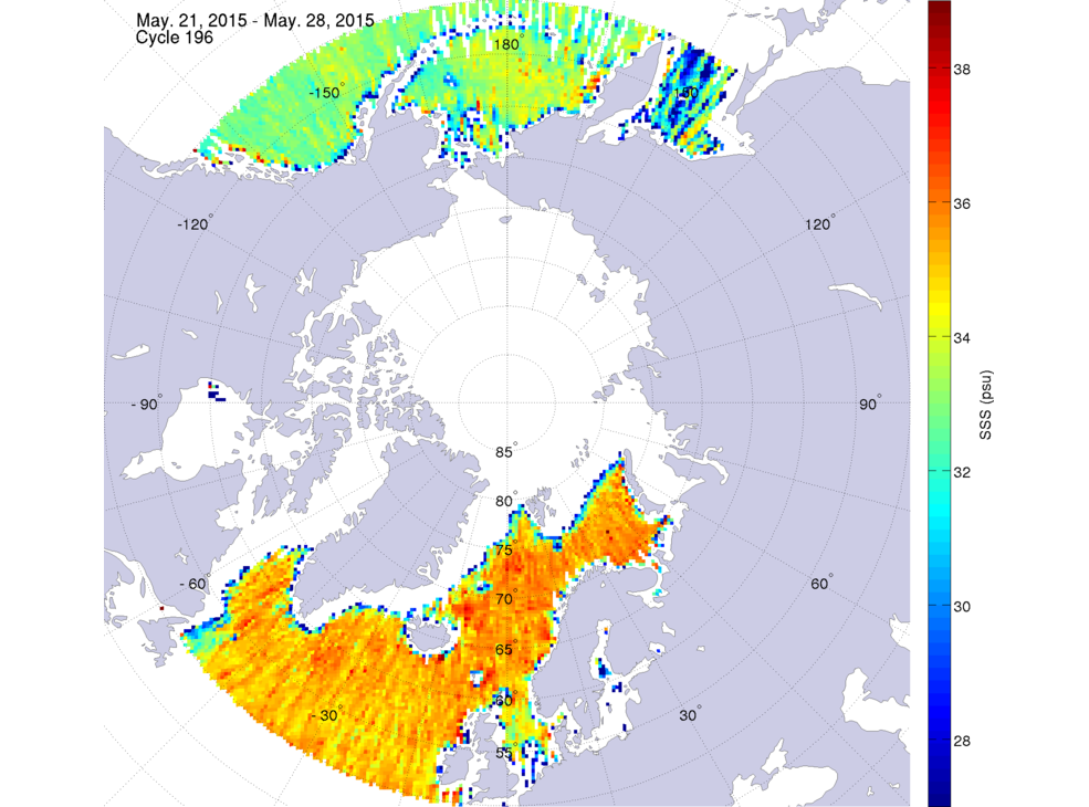 Sea surface salinity, May 21-28, 2015