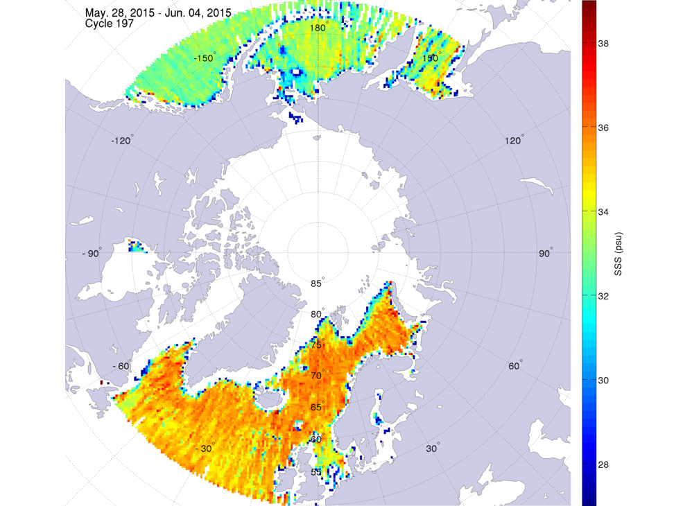 Sea surface salinity, May 28 - June 4, 2015