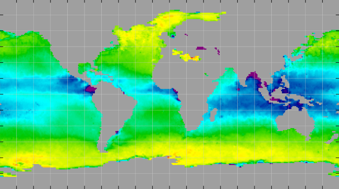 Sea surface density, January 2012