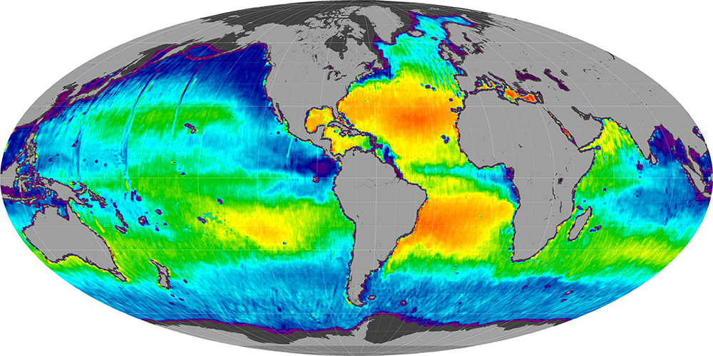 Sea surface salinity, April 2012