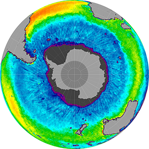 Sea surface salinity in the Southern Hemisphere, April 2012