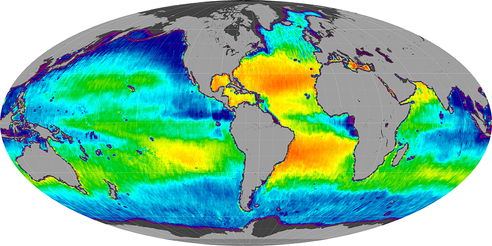 Sea surface salinity, April 2013