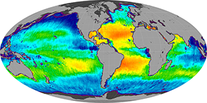 Global sea surface salinity, April 2013