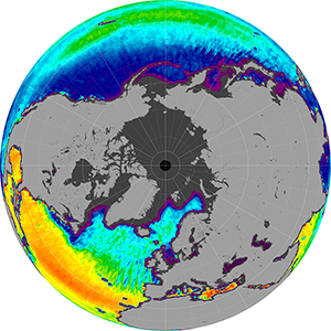 Sea surface salinity in the Northern Hemisphere, April 2013