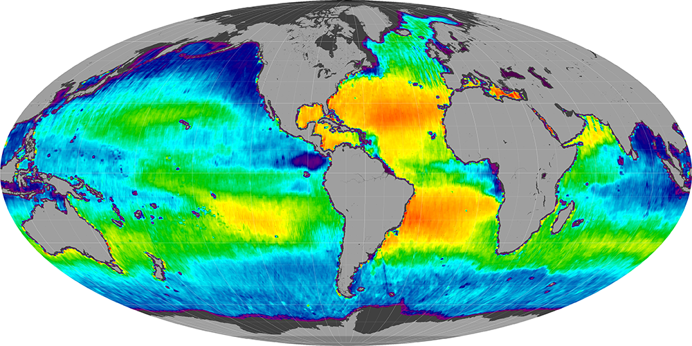 Sea surface salinity, April 2014