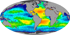 Global sea surface salinity, April 2015