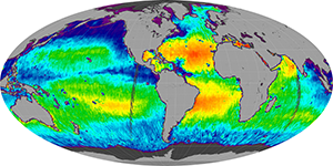 Global sea surface salinity, August 2011