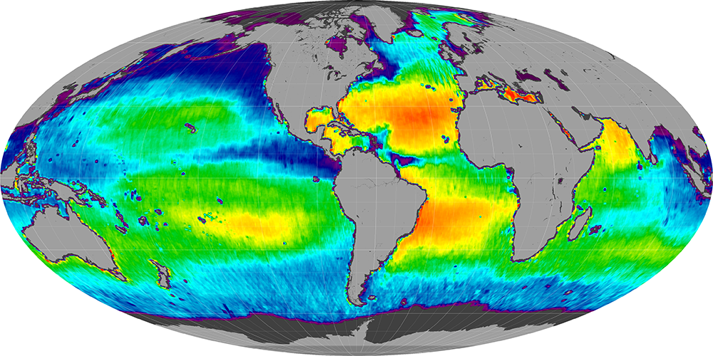 Sea surface salinity, August 2012