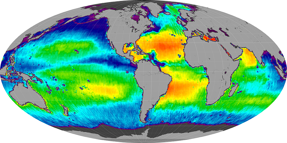 Sea surface salinity, August 2013