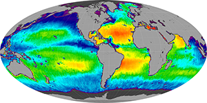 Global sea surface salinity,  August 2013