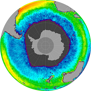 Sea surface salinity in the Southern Hemisphere, August 2013