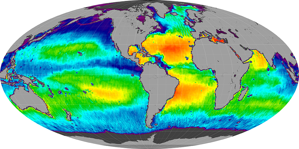 Sea surface salinity, August 2014