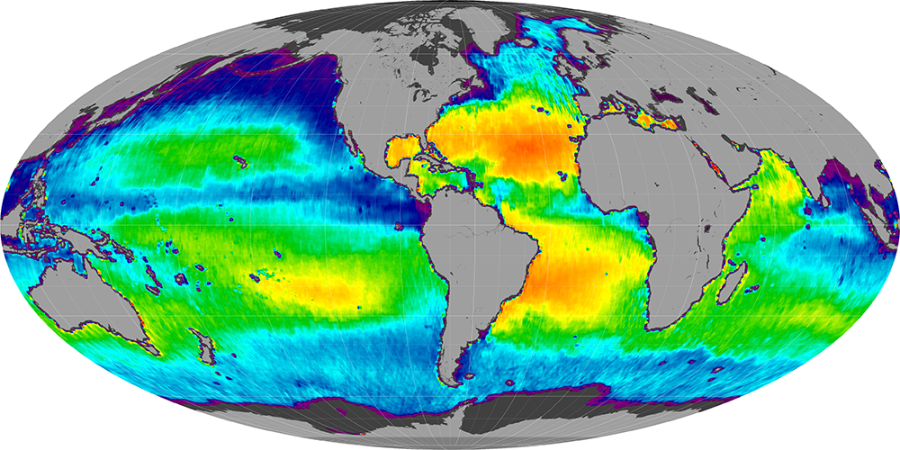 Sea surface salinity, December 2011