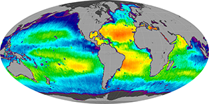 Global sea surface salinity, December 2013