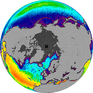 Sea surface salinity in the Northern Hemisphere, December 2013
