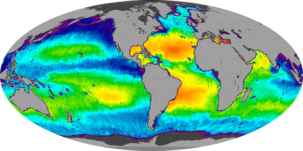 Sea surface salinity, December 2014