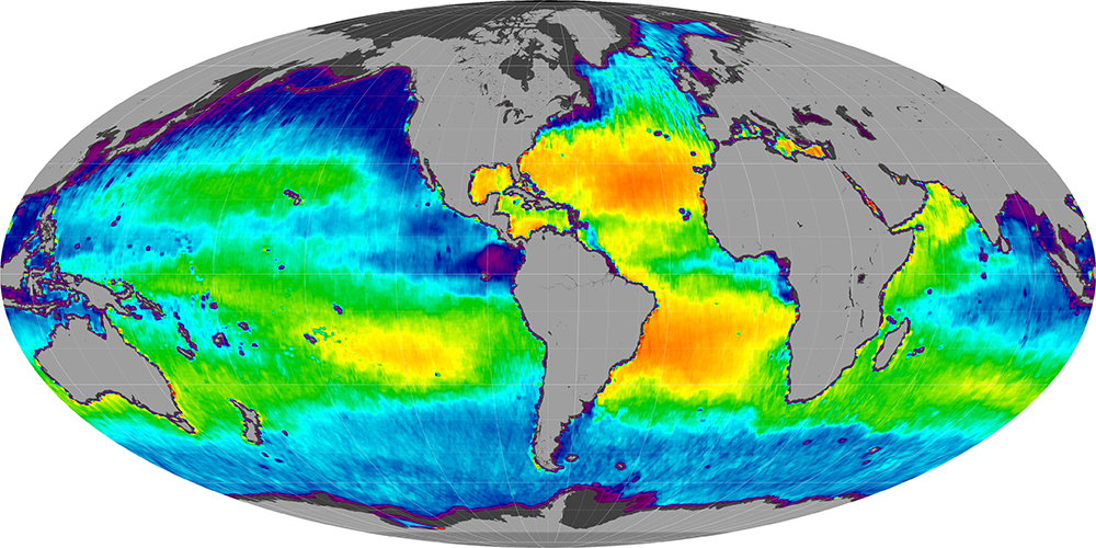 Sea surface salinity, February 2012
