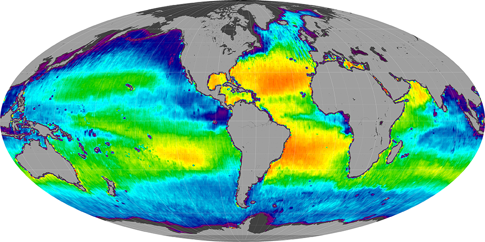 Sea surface salinity, February 2013