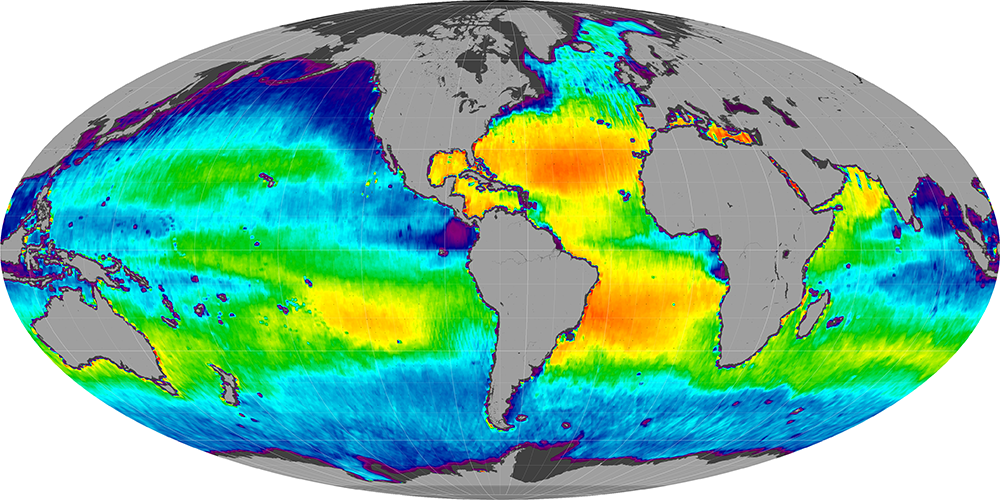 Sea surface salinity, February 2014