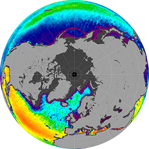 Sea surface salinity in the Northern Hemisphere, February 2014