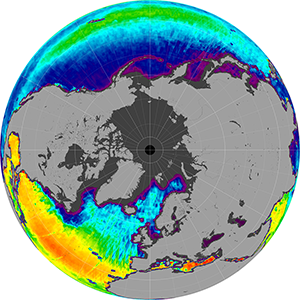 Sea surface salinity in the Northern Hemisphere, February 2015