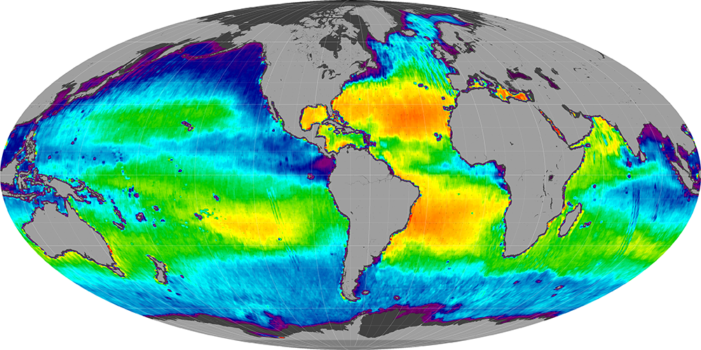 Sea surface salinity, January 2012