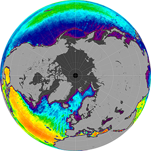 Sea surface salinity in the Northern Hemisphere, January 2012