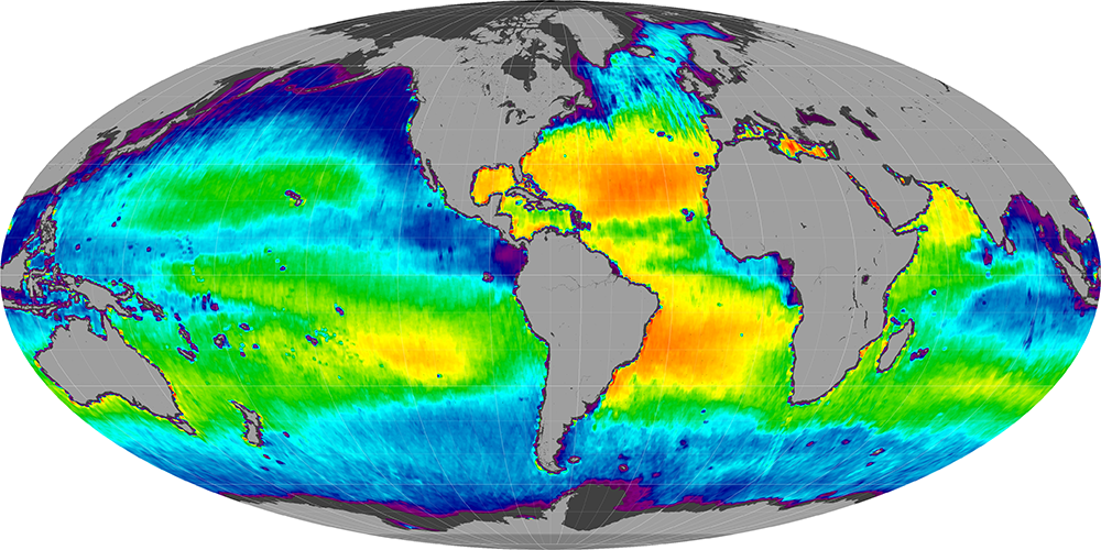 Sea surface salinity, January 2013
