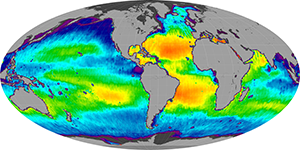 Global sea surface salinity, January 2014