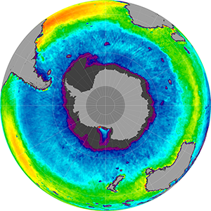 Sea surface salinity in the Southern Hemisphere, January 2014
