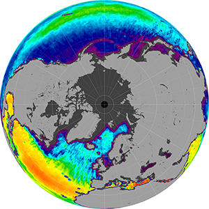 Sea surface salinity in the Northern Hemisphere, January 2015