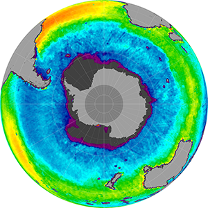 Sea surface salinity in the Southern Hemisphere, January 2015