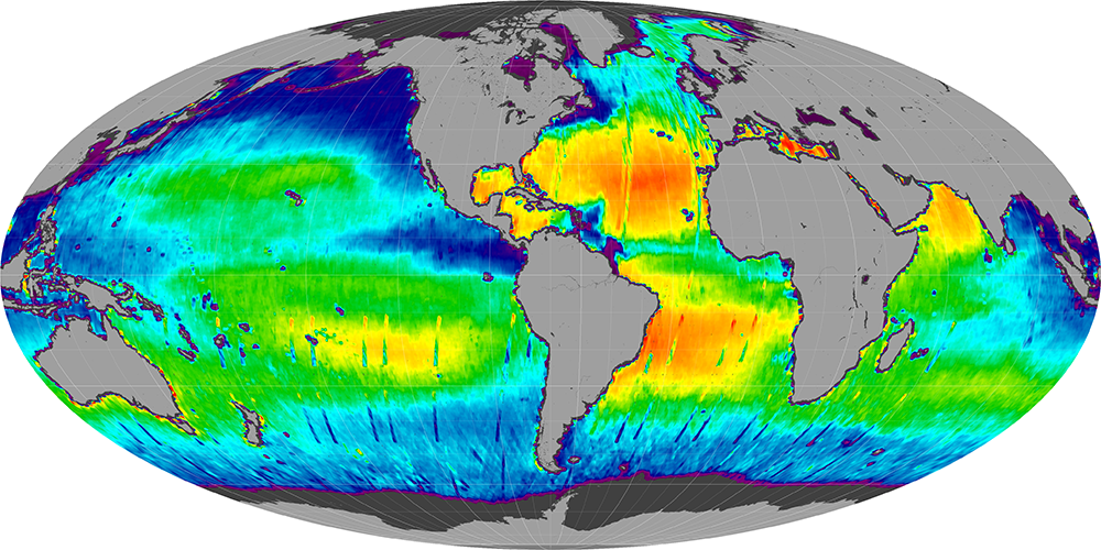 Sea surface salinity, July 2012