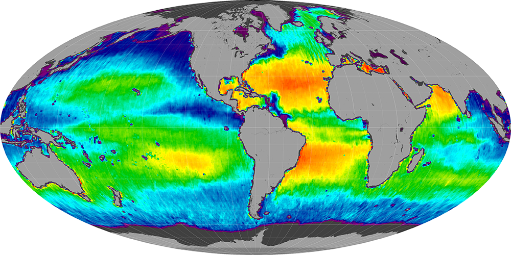 Sea surface salinity, July 2013