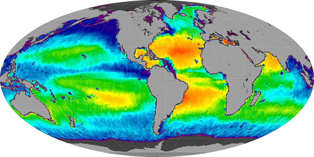 Sea surface salinity, July 2014
